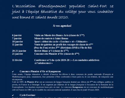 Le bulletin du collège Saint-Fort du mois de février