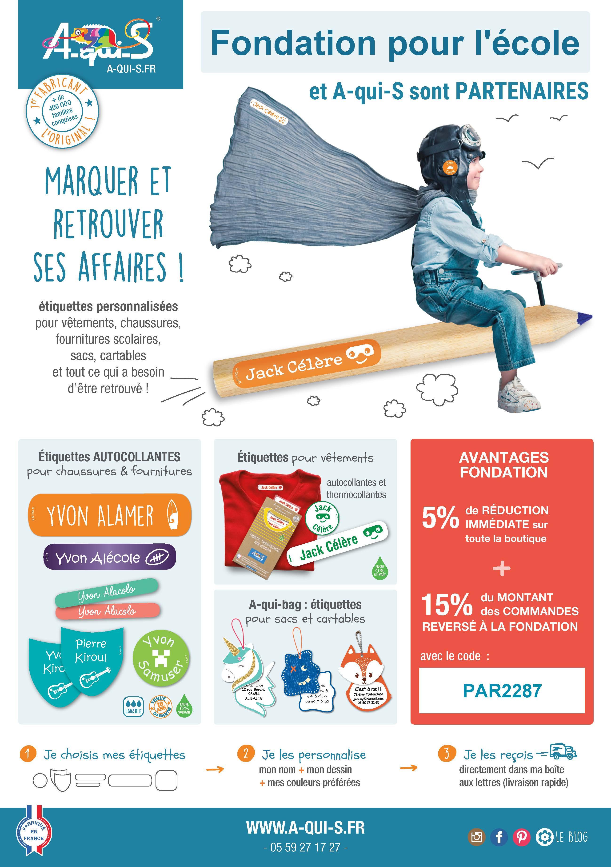 """Partenariat Fondation pour l'école et """"A qui S """""""